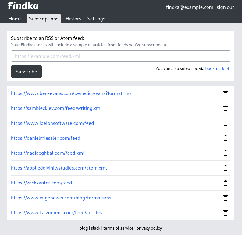 Example of subscribing to RSS feeds on Findka